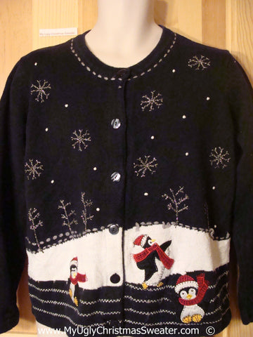 Two Sided Penguin Themed Cheesy Christmas Sweater