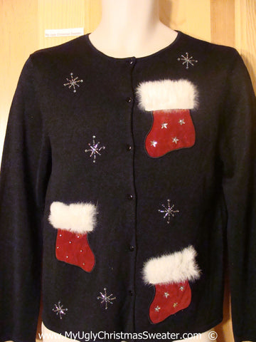 Cheesy Christmas Sweater with Furry Festive Stockings