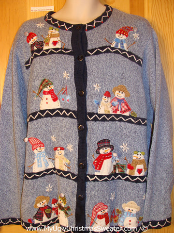 Row of snowman Cheesy Christmas Sweater