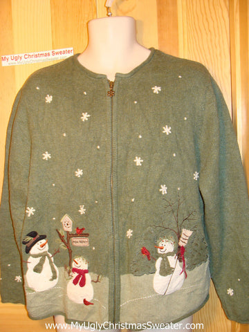 Tacky Ugly Christmas Sweater Winter Wonderland with Snowman Family Fun (f141)