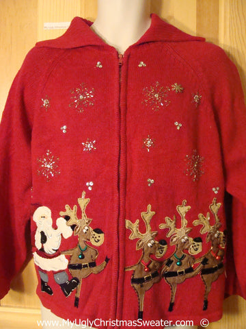 Dancing Reindeer Cheesy Christmas Sweater