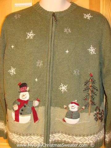 Two Sided Green Cheesy Christmas Sweater