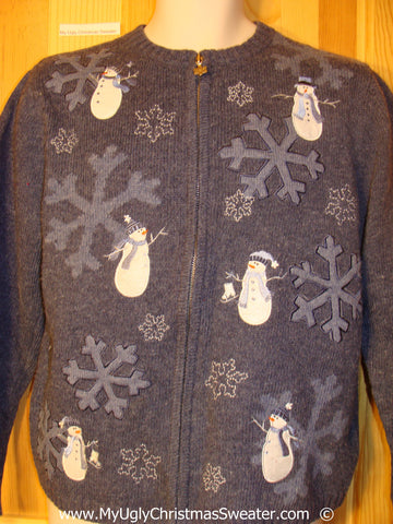 Cheesy Blue Christmas Sweater with Snowmen