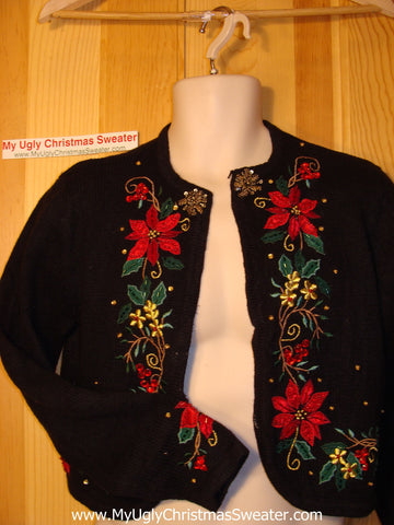 Tacky Ugly Christmas Sweater Bolero-style Jacket with Poinsettias & Bling  (f142)