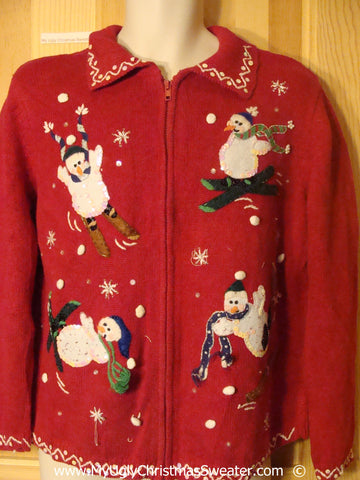Skiing Snowmen Red Cheesy Christmas Sweater
