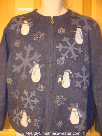 Blue Snwoman Cheesy Christmas Sweater