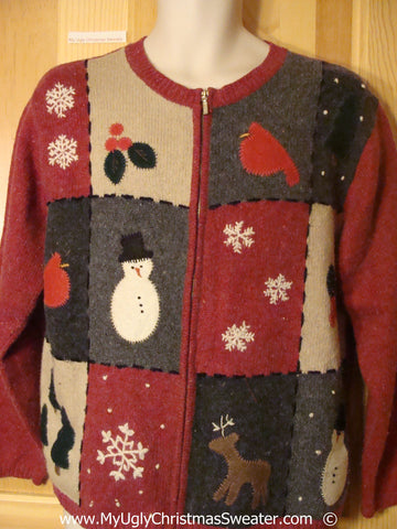 Red Patchwork Cheesy Christmas Sweater