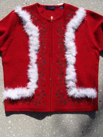 Red Wool Christmas Sweater with Ivy