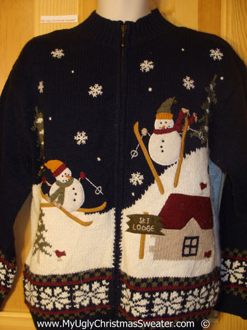 Two Sided Design Skiing Snowmen Christmas Sweater