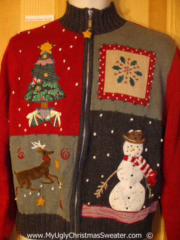 Crafty Brown and Red Christmas Sweater with Reindeer
