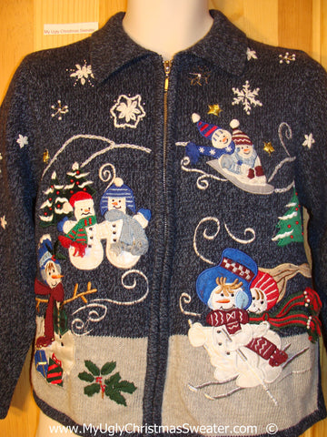 Snowmen Skiing and Sledding Christmas Sweater