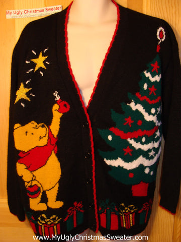 Tacky Ugly Christmas Sweater 80s Classic Vintage  'Winnie The Pooh' Cardigan (f143)