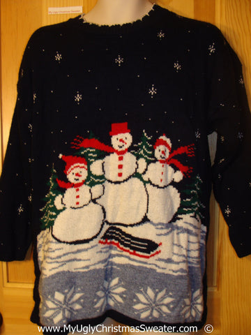 Cheesy 80s Snowman Family Christmas Sweater