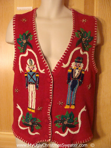 Red Christmas Sweater Vest with Nutcrackers