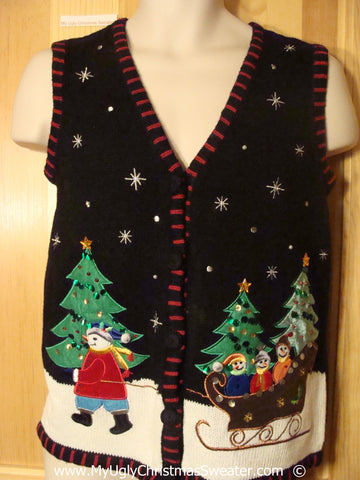 Christmas Sweater Vest with Snowman Sleigh