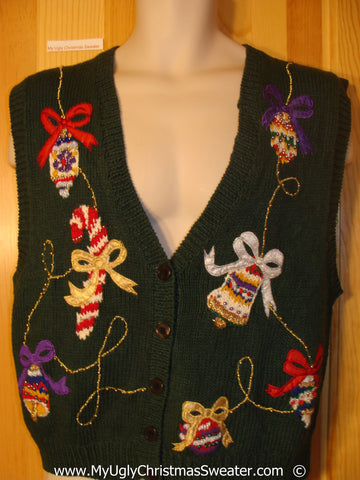 Cheesy Christmas Sweater Vest with Bling
