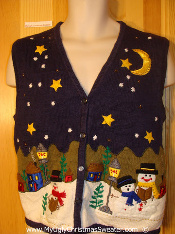 Happy Snowmen with Stars and Moon Christmas Sweater Vest