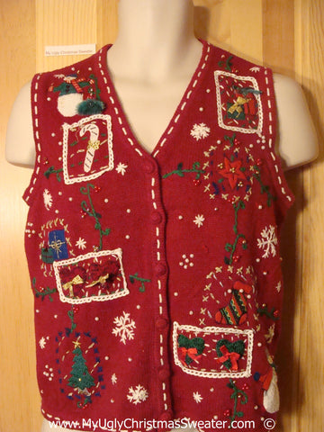 Cheesy Red Patchwork Christmas Sweater Vest
