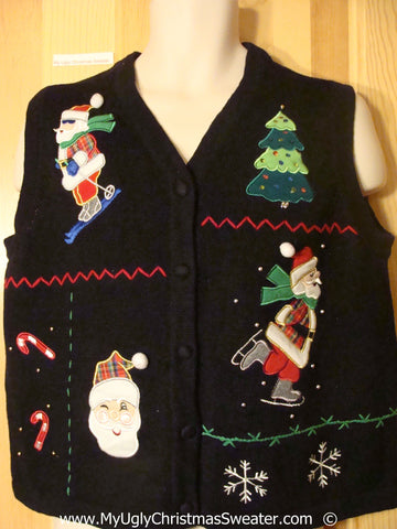Black Christmas Sweater Vest with Santa Skiing