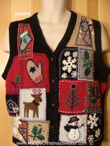 Patchwork Christmas Sweater Vest with Reindeer