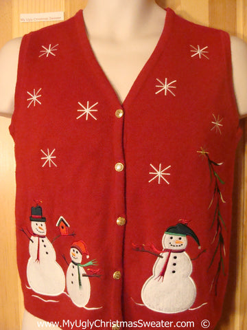 Cheesy Red Christmas Sweater Vest with Snowmen