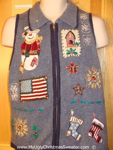 Patriotic Christmas Sweater Vest with Flag