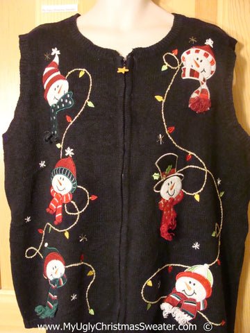 Black Christmas Sweater Vest with Snowmen Heads