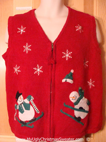 Skiing Snowmen Red Christmas Sweater Vest