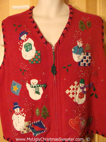 Red Crafty Christmas Sweater Vest with Snowmen
