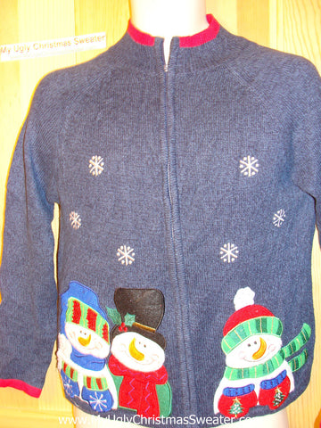 Tacky Ugly Christmas Sweater with Festive Snowmen (f145)