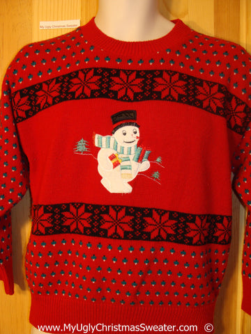 80s Style Snowman Christmas Sweater