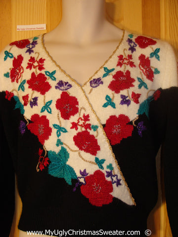 80s Christmas Sweater with Red Flowers