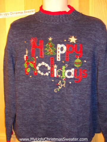 "Tacky Ugly Christmas Sweater ""Happy Holidays"" (f146)"