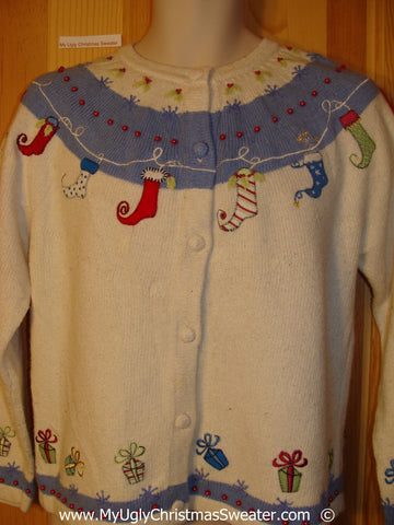 Stocking Clothesline 2sided Christmas Sweater