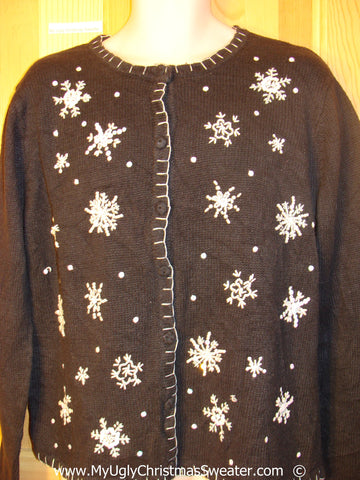 Cheap Black Snowflake Christmas Sweater