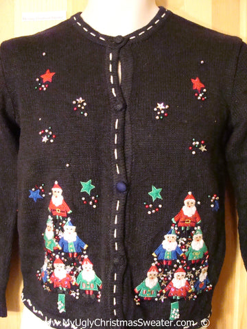 Black Christmas Sweater with Tree Santas
