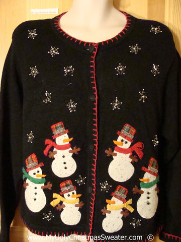 Black Christmas Sweater with Plaid Hat Snowmen