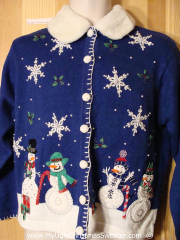 Blue Christmas Sweater with Snowmen and Furry Collar