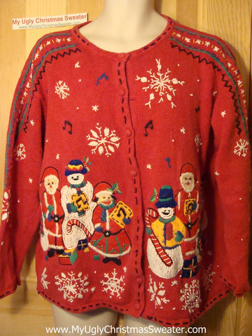 Tacky Ugly Christmas Sweater Embroidered Masterpiece Snowman Family (f147)