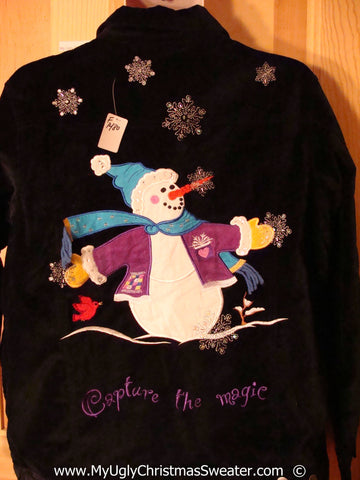 2sided Black Velvety Christmas Shirt Huge Snowman