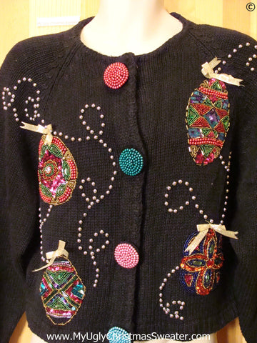Bling 80s Christmas Sweater with Ornaments