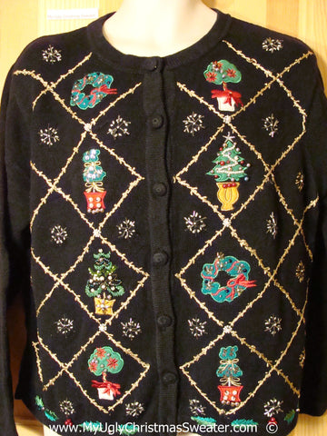 Bling Greenery Cargidan Christmas Sweater