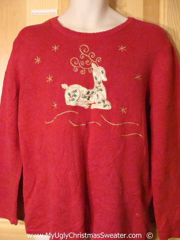 Cheap Red Christmas Sweater with Reindeer