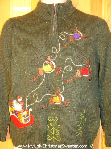Green Christmas Sweater Santa and Reindeer