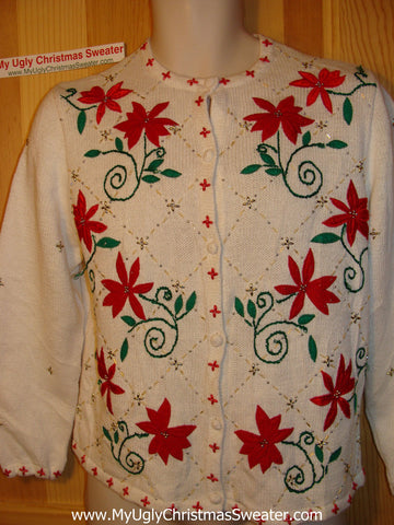 Tacky Ugly Christmas Sweater with Festive Red Poinsettias and Bead Bling (f148)