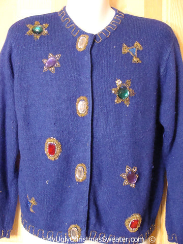 Cheap 80s Blue Gem Bling Christmas Sweater