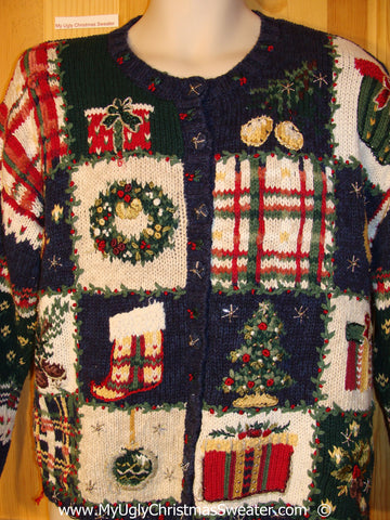 80s Busy Patterned 2sided Christmas Sweater