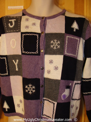 Two Sided JOY Purple and Pink Christmas Sweater