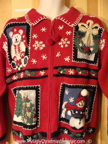 Red Christmas Sweater with Santa Bear