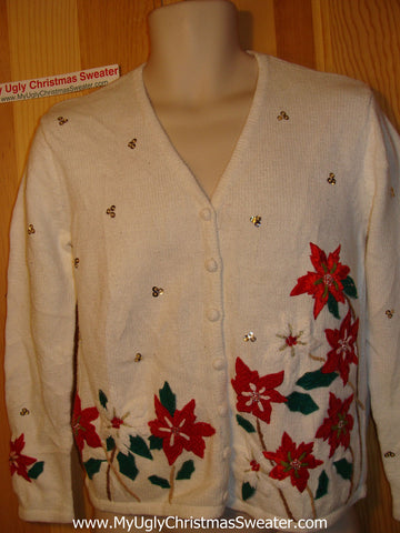 Tacky Ugly Christmas Sweater with Festive Red Poinsettias and Bead Bling (f149)